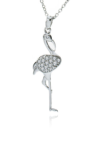 Belk & Co. Platinum Plated Sterling Silver Cubic Zirconia Flamingo Pendant<br>