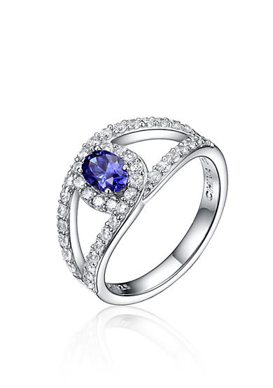 Belk & Co. Simulated Tanzanite and Cubic Zirconia Ring in Platinum Plated Sterling Silver
