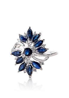 Belk & Co. Sterling Silver Sapphire & Diamond Ring