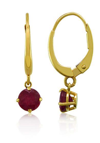 Belk & Co. Ruby Earrings in 10k Yellow Gold