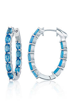 Belk & Co. Blue Topaz Hoop Earrings in Sterling Silver