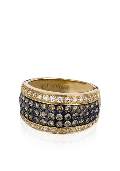 Le Vian® Chocolate Diamond® and Vanilla Diamond™ Band in 14k Honey Gold™ - Belk Exclusive