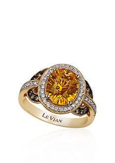Le Vian 14k Honey Gold™ Cinnamon Citrine® and Chocolate Diamond® and Vanilla Diamond™ Ring