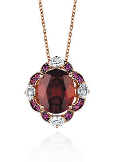 Le Vian 14k Strawberry Gold® Pomegranate Garnet™, Ocean Blue Topaz™, and Cotton Candy Amethyst® Pendant -
