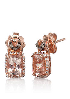 Le Vian 14k Strawberry Gold® Morganite, Vanilla Diamond®, and Chocolate Diamond® Earrings - Belk Exclusive
