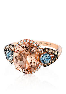 Le Vian 14k Strawberry Gold® Morganite, Sea Blue Aquamarine®, Chocolate Diamond®, and Vanilla Diamond® Ring
