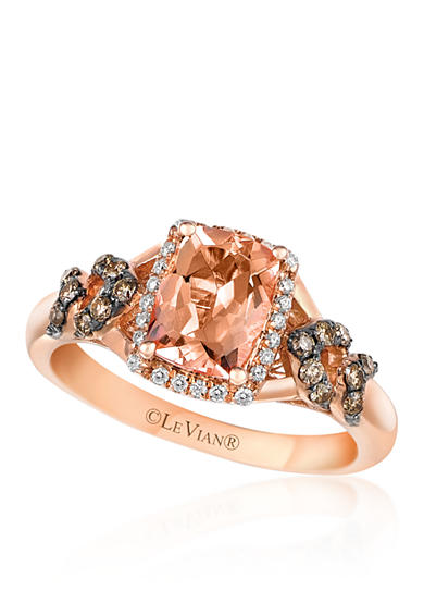 Le Vian® 14k Strawberry Gold® Morganite, Chocolate Diamond®, and Vanilla Diamond® Ring - Belk Exclusive