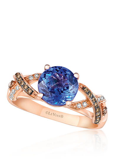 Le Vian® 14k Strawberry Gold® Blueberry Tanzanite™ Chocolate Diamond® and Vanilla Diamond® Ring - Belk Exclusive