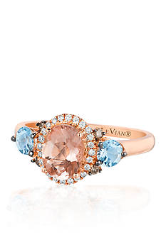 Le Vian 14k Strawberry Gold® Morganite, Sea Blue Aquamarine®, Vanilla Diamond®, and Chocolate Diamond® Ring