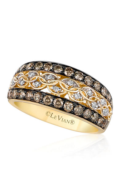 Le Vian® Chocolate Diamond® and Vanilla Diamond® Band in 14k Honey Gold™ - Belk Exclusive