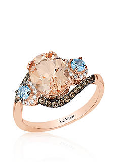 Le Vian 14k Strawberry Gold® Morganite, Sea Blue Aquamarine®, Chocolate Diamond®, and Vanilla Diamond® 3 Sto