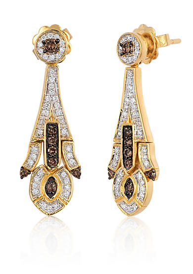 Le Vian® Chocolate Diamond® and Vanilla Diamond® Earrings in 14k Honey Gold™ - Belk Exclusive