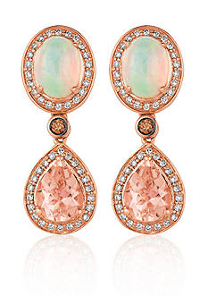 Le Vian® Peach Morganite™, Neapolitan Opal™, Vanilla Diamond®, and Chocolate Diamond® Earrings in 14k Straw