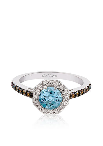 Le Vian® 14k Vanilla Gold® Sea Blue Aquamarine®, Chocolate Diamond® and Vanilla Diamond® Ring - Belk Exclusive