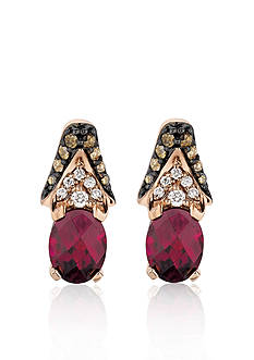 Le Vian 14k Strawberry Gold® and Raspberry Rhodolite® Garnet Earrings with Chocolate Diamonds® and Vanilla Diamon