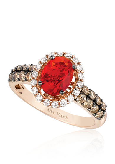 Le Vian® 14k Strawberry Gold® Neon Tangerine Fire Opal®, Chocolate Diamond® and Vanilla Diamond® Ring - Belk Exclusive