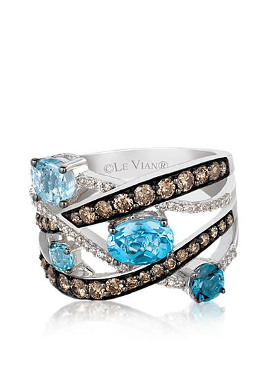 Le Vian® Blue Topaz Ring with Chocolate Diamonds® and Vanilla Diamonds™ - Belk Exclusive