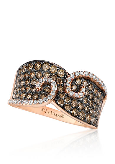 Le Vian® Chocolate Diamond® and Vanilla Diamond® Swirl Band in 14k Strawberry Gold® - Belk Exclusive
