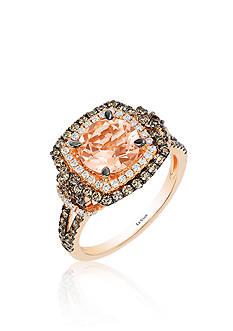 Le Vian Peach Morganite™, Vanilla Diamond®, and Chocolate Diamond® Ring in 14k Strawberry Gold®