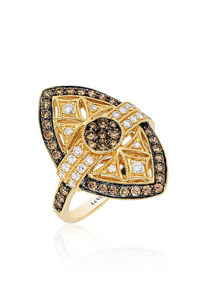 Le Vian® Chocolate Diamond® and Vanilla Diamond® Ring in 14k Honey Gold™ - Belk Exclusive