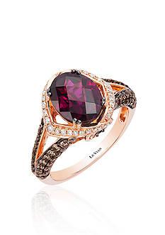 Le Vian Raspberry Rhodolite®, Vanilla Diamond®, and Chocolate Diamond® Ring in 14k Strawberry Gold®