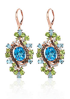 Le Vian Ocean Blue Topaz®, Green Apple Peridot®, and Chocolate Quartz™ Earrings in 10k Strawberry Gold™