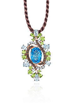 Le Vian Ocean Blue Topaz™, Green Apple Peridot™, and Chocolate Quartz® Pendant in 14k Strawberry Gold®