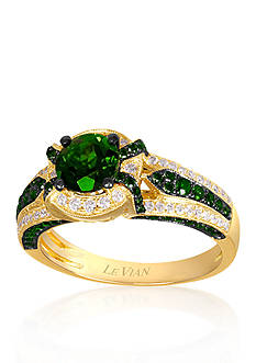 Le Vian 14k Honey Gold™ Pistachio Diopside™, Kiwiberry Green Diamond™, and Vanilla Diamond® Ring - Belk E