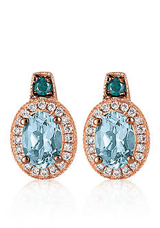 Le Vian® Sea Blue Aquamarine™, Vanilla Diamond®, and Blueberry Diamond® Earrings in 14k Strawberry Gold®