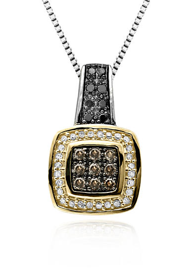 Belk & Co. Brown, Black and White Diamond Pendant in Sterling Silver with 14k Yellow Gold