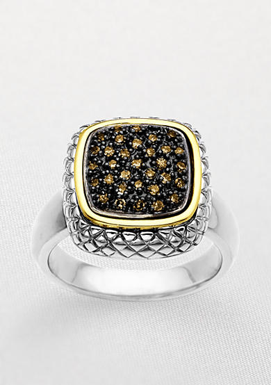 Belk & Co. Mocha Diamond Ring in Sterling Silver with 14k Gold