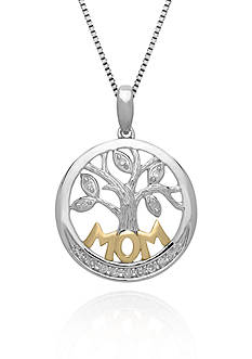 Belk & Co. Diamond MOM Pendant in Sterling Silver with 14k Yellow Gold