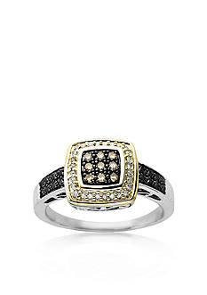 Belk & Co. Brown, Black and White Diamond Ring in Sterling Silver with 14k Yellow Gold
