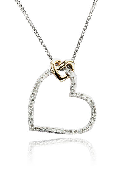 Belk & Co. 1/10 ct. t.w. Heart Pendant in Sterling Silver with 14k Gold