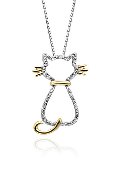 Belk & Co. Diamond Cat Pendant in Sterling Silver with 14k Yellow Gold