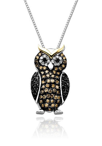 Belk & Co. Diamond Owl Pendant in Sterling Silver with 14k Yellow Gold