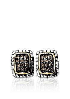 Belk & Co. Mocha Diamond Earrings in Sterling Silver with 14k Gold