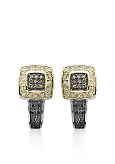 Belk & Co. Brown, Black and White Diamond Earrings in Sterling Silver with 14k Yellow Gold
