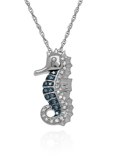Belk & Co. Blue and White Diamond Seahorse Pendant in Sterling Silver