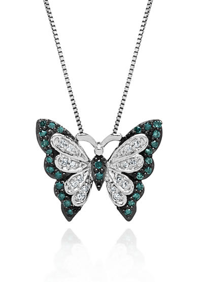 Belk & Co. Green and White Diamond Butterfly Pendant in Sterling Silver