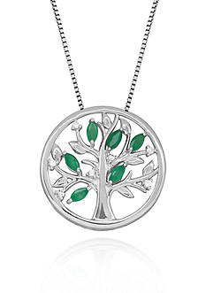 Belk & Co. Sterling Silver Emerald and Diamond Tree of Life Pendant