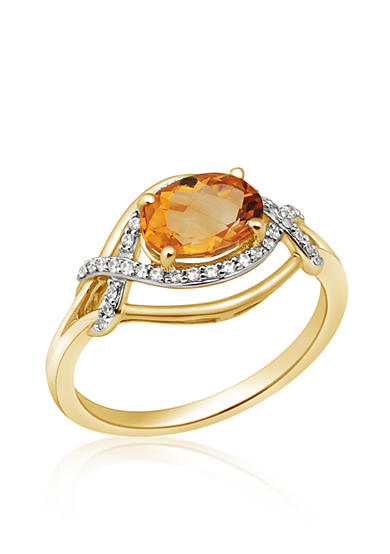 Belk & Co. Citrine and Diamond Ring in 10k Yellow Gold