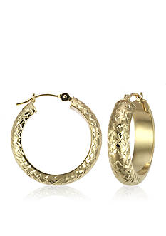 Belk & Co. 14k Diamond Cut Hoop Earrings
