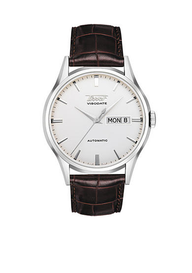 Tissot Visodate Men's Silver Automatic Brown Leather Strap Watch