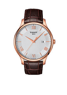Tissot Tradition Men's Quartz Rose Gold-Tone Dial Brown Leather Watch