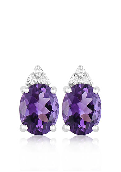 Belk & Co. 10k White Gold Amethyst and Diamond Earrings