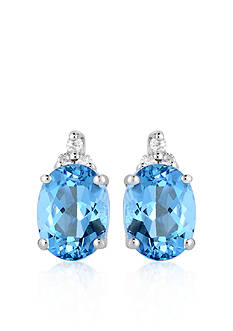 Belk & Co. 10k White Gold Blue Topaz Diamond Earrings