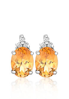 Belk & Co. 10k White Gold Citrine and Diamond Earrings