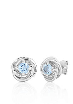 Belk & Co. Sterling Silver Aquamarine Knot Earrings