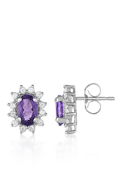Belk & Co. Amethyst and White Topaz Earrings in 10k White Gold